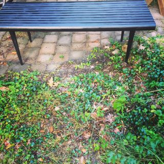 Vintage Mid century ebony slat bench/coffee table