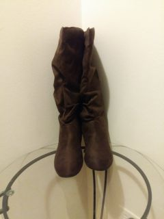 Brown Knee-High Slouch Boots Size 10 (NEW)