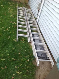 Two extension ladders