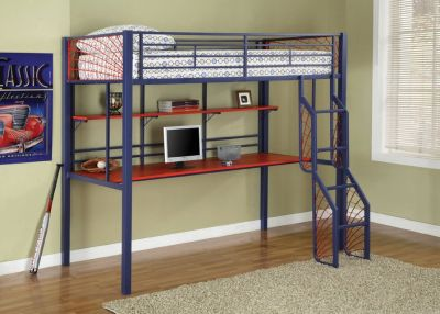 upper bed with desk
