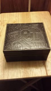 Oklahomal University leather tie/watch/accessories box. embossed leather