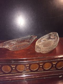 ANTIQUE CRYSTAL OVAL DISHES