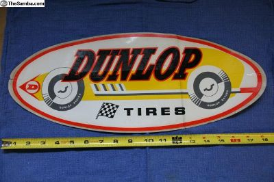 Vintage 1960s Dunlop Racing Tires Decal, 18""