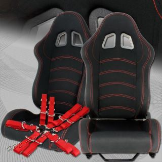 Find TYPE-1 Black Cloth Red Stitching Racing Seat + 5-Point Red Seat Belt Universal 4 motorcycle in Walnut, California, United States, for US $299.99