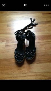 Black and white polkadot open toe lace up espadrille wedges