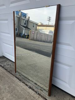 Vintage Beveled Glass Wall Mirror w Walnut Frame