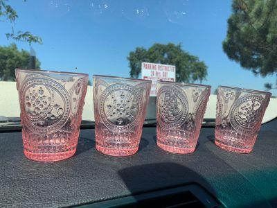 Set of 4 Pink Decorative Drinking Cups