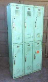 Set of 6 mid century metal lockers