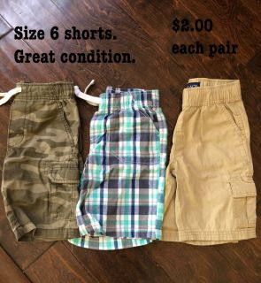 Size 6 shorts. Adjustable. Great condition. $2.00 each pair