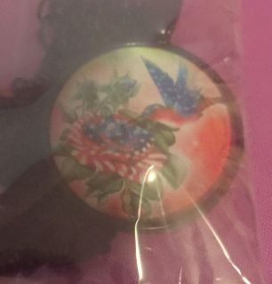 American hummingbird 4th of July Independence Day red white and blue necklace