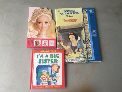 Snow White (batteries work for talking book), Barbie, big sister