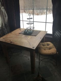 Rustic table and chairs.