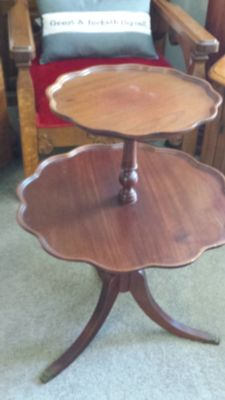 Excellent two tiered walnut antique table