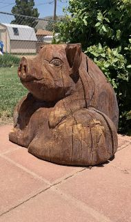 Carved Wood Pig Pals