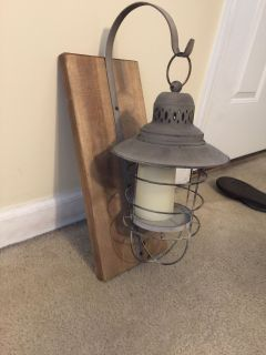 Cute farmhouse hanging lantern with candle