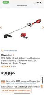 Used Milwaukee String trimmer,18V9AH battery and charger