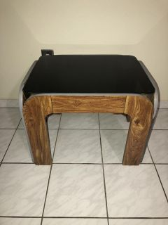 Wood & Glass Side Table in Good Condition!
