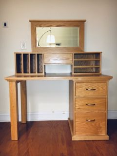 Handmade desk with drawers, hutch, and mirror