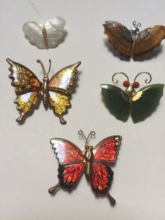 4 Butterfly Pins/1 Butterfly Magnet