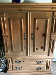 Armoire/ pine with 2 drawers for storage