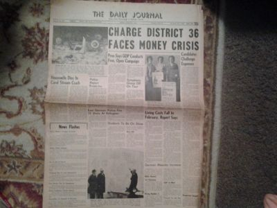 "Vintage ""The Daily Journal"" Newspaper From DuPage County Dated Tuesday, March 31, 1964"