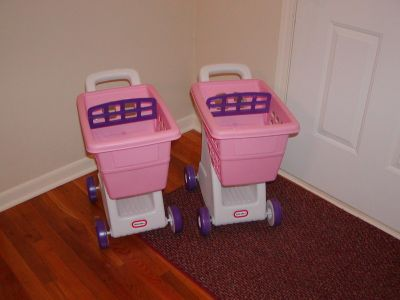 2 Little Tikes Pink Grocery Shopping Carts Cart - very sturdy from a smoke-free home