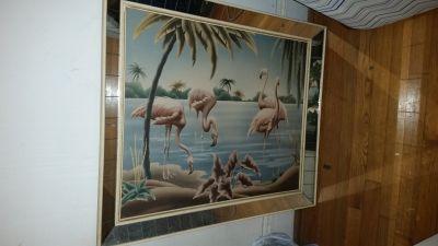 Mirrored Turner Flamingo print