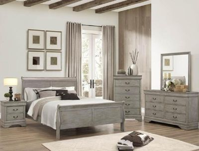 "BRAND NEW! SOLID WOOD GREY FINISHED ""LOUIS PHILIPE"" COLLECTION QUEEN BED SET"