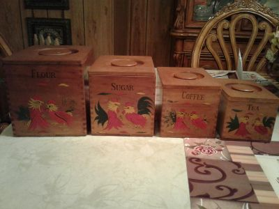Vintage wooden Rooster canisters