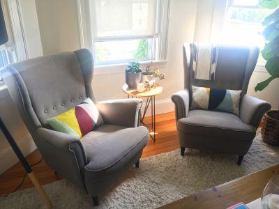 Ikea STRANDMON Wingback Chairs & Ottoman