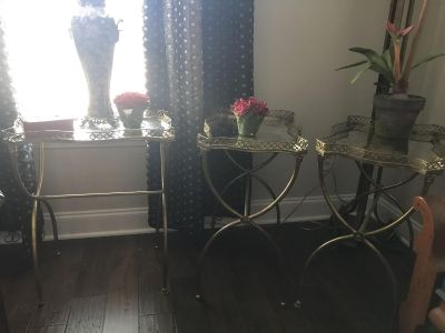 3 mirror and gold side tables