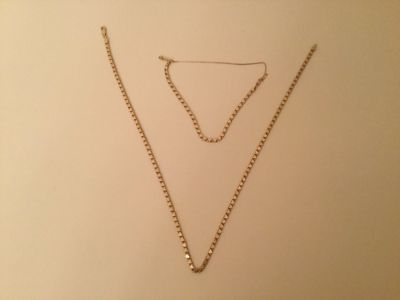 14k yellow gold double heart link chain necklace and bracelet set