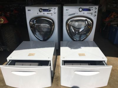 GE Profile HE Washer and Dryer set with matching pedestal drawers