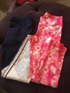 Fabletics navy and Sketchers pink yoga pants
