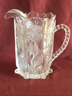 L.E. Smith Thistle Glass Water Pitcher