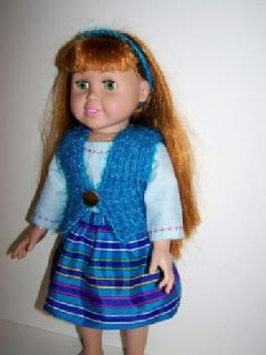 Doll Vest, Skirt, Shirt & Headband for 18 inch doll such as American Girl dolls