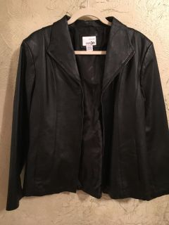 East 5th black leather coat, professional dry clean, excellent condition, non smoking home, size L women s