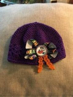 Baby crochet hat with Halloween Minnie bow NEW