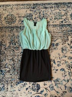 Teal and black dress