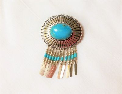 QT Quoc Brooch Pendant Turquoise Sterling Silver Bracelet Southwester Native Indian