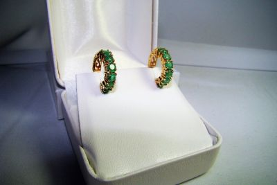 14K Gold Emerald Post Earrings 2.1 Grams