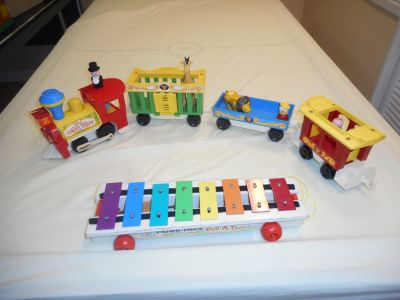 Pull toys-Vintage Fisher-Price Circus Train and FP Xylophone