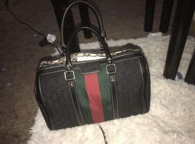 Gucci leather luggage travel bag