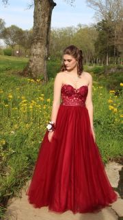 Beautiful Ellie Wilde Mon Cheri Deep Red Prom Gown