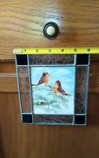 Nice stained glass hand drawn picture hanger for window or ect.