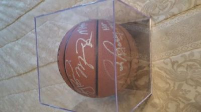 Michael Jordan, Larry Bird, Magic Johnson, Rick Barry Autographed Basketball