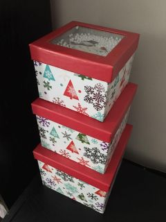 Nested Floating Snowman Christmas Boxes-New