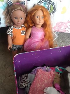 2 18 inch dolls My Life and Our Generation plus bucket of clothes and accessories SEE DESCRIPTION