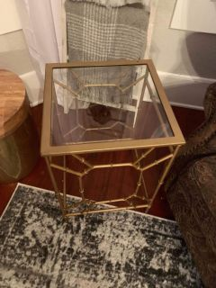 Gold glass side table