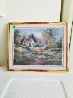 Cottage with Girl Sm Picture 10 x 8